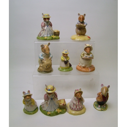 48 - Royal Doulton Brambley Hedge Figures to include: Lady Wood Mouse DBH32, Lord Woodmouse DBH4, Dusty D...