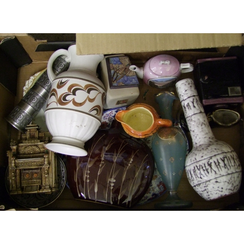 52 - A mixed collection of items to include : Studio pottery vase, decorative glass ware, E radford ewer ...