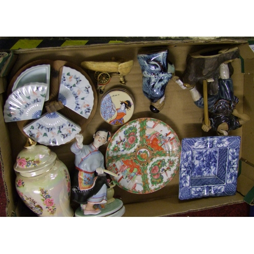 57 - A collection of modern oriental themed ceramics: and resin figures...