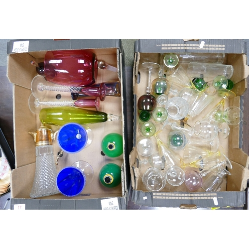 17 - A collection of glass to include a pair of candle sticks: perfume pots, footed bowl, glasses etc ( 2...