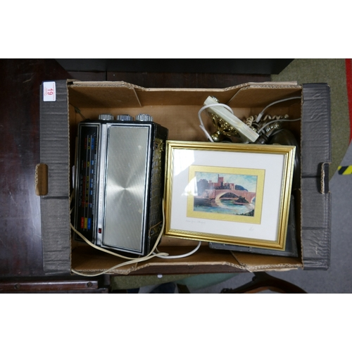 19 - A mixed collection of items to include: Oscar Majestic radio, onyx lampbase, telephone, framed print...