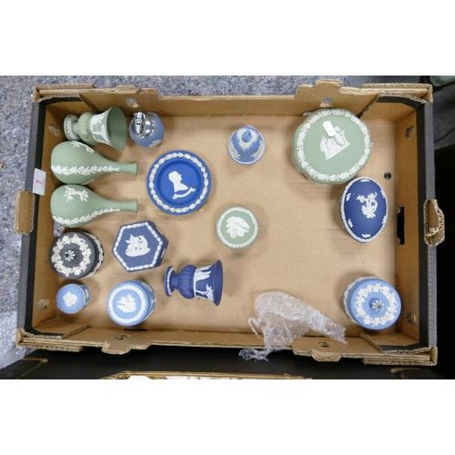 7 - Wedgwood jasper ware to include: sage green vases and lidded boxes, dark blue vase , egg box blue li...