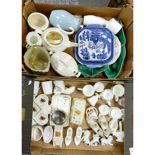 9 - A mixed collection of items to include: blue & white lidded tureen, egg cups, tea and coffee pots, b...