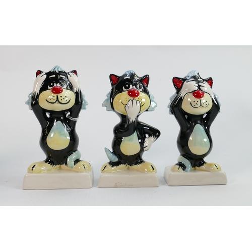 50 - Lorna Bailey Set of Three Wise Monkey Cats: 'Hear No Evil', 'See No Evil', 'Speak No Evil'. Tallest ...