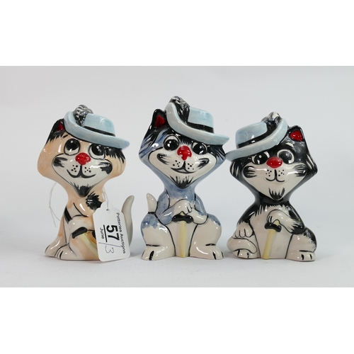 57 - Lorna Bailey cats The three PussKateers: Tallest 13.5 cm (3)