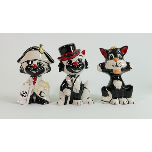 52 - Three Lorna Bailey cats: Pirate, cat with cane & sitting cat, tallest 13.5 cm. (3)