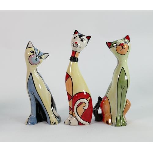 53 - Three Lorna Bailey cats: includes Elizabeth 19.5 cm (3)