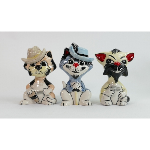 54 - Three Lorna Bailey cats: 2 with guns, one with sword, tallest 13.25 cm (3)