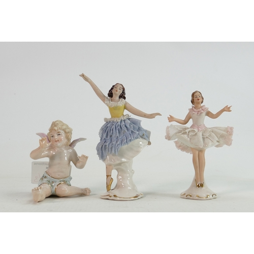 15 - Dresden Lace Miniatur Dancers: together with similar Cherub , damage noted to both dancers, height o...