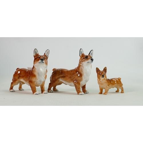 28 - Three Royal Doulton Corgi Dog Figures(3):