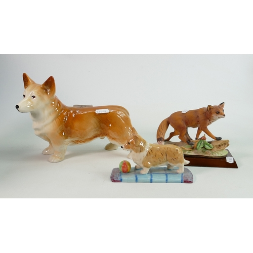 32 - Royal Doulton Nelson & similar pottery figures of Corgi Dogs & Foxes: height of tallest 16cm(3)