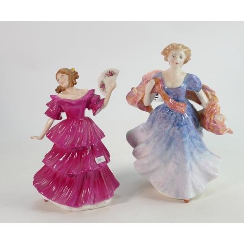34 - Royal Doutlon Lady Figures: Jennifer HN3447 & Morning Breezes HN3313(2)