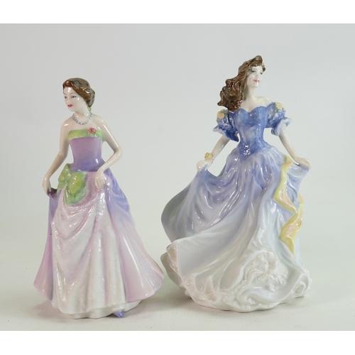 37 - Royal Doutlon Lady Figures: Rebecca HN4041 & Jessica HN3850(2)