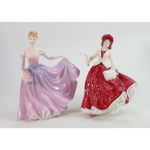 38 - Royal Doutlon Lady Figures: Rachel HN3976 & Christmas Day 1999 HN4214, both boxed with certificates(...