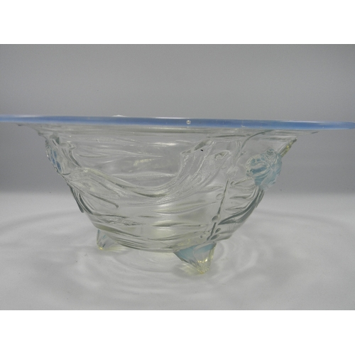 43 - Large Jobling Opalique Glass Bowl with Fish Decoration: chip to foot, diameter 28cm