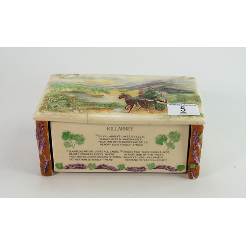 5 - Crown Devon Feildings Musical Cigarette Box: Killarney hairline noted to lid, length 21cm