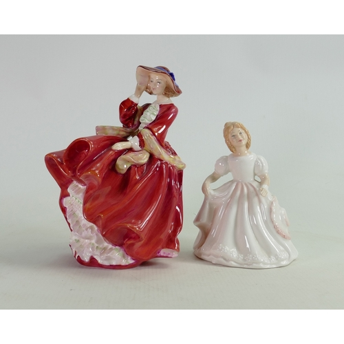 45 - Royal Doulton Lady Figures: Top O the Hill HN1834 together with Amanda HN2996(2)