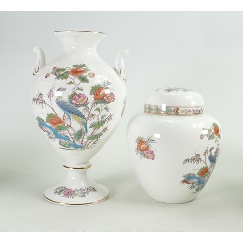 49 - Wedgwood Kutani Crane Patterned Urn & Ginger Jar:  height of tallest