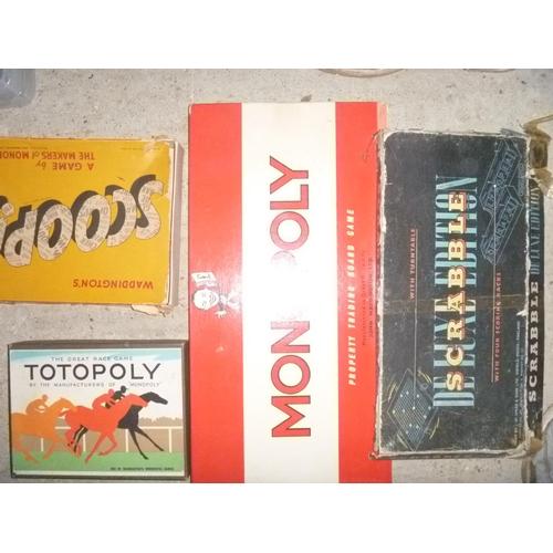 4 board games including monopoly , scrabble etc