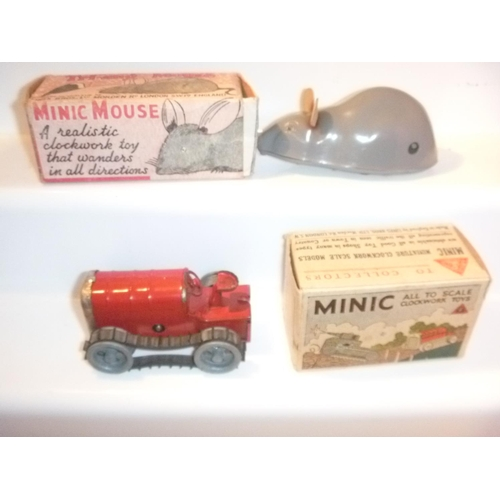 220 - 2 triang minic tractor and mouse, no keys ,motors untested...