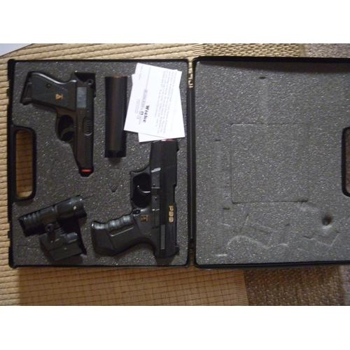 222 - Walther PPK and P99 cap guns in Umarex case, sames as those used by James Bond...