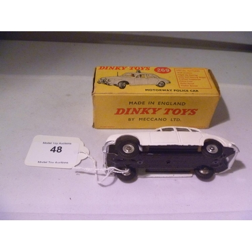 48 - dinky toys (model E, box G) jaguar police car...