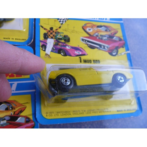 1 - lesney matchbox trade pack sleeve of 5 models mod rod some card blisters split at ends (boxes genera...