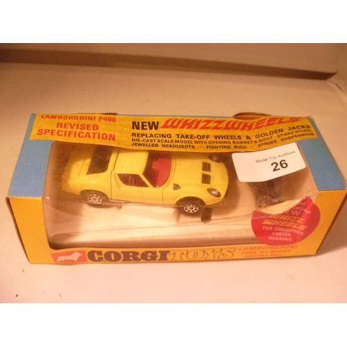 26 - corgi toys whizzwheels LAMBORGHINI MIURA (MODEL NEAR MINT BOX G)...