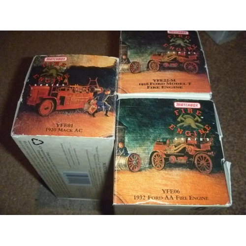 32 - 3 matchbox models of yesteryear fire engines: Mack, Ford T and AA