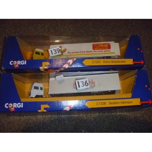 43 - 2 corgi toys lorries volvo globetrotter seddon atkinson silentnight and steiff bears...