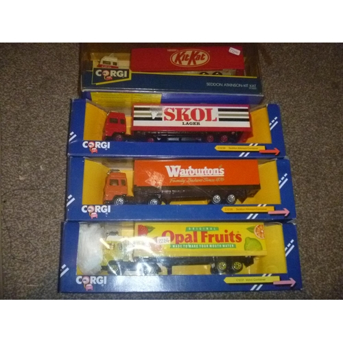 45 - 4 corgi toys lorries volvo globetrotter seddon atkinson SKOL OPAL FRUITS WARBUTRONS AND KIT KAT...