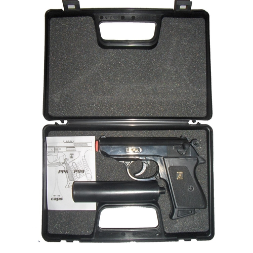 53 - lone star james bond style walther ppk cap gun WITH SILENCER in ATTACHE presentation pack
