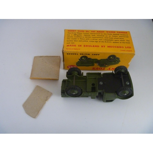 59 - DINKY TOYS MILITARY ARMY (MODEL VG BOX F WITH SOME DETACHED FLAPS) WATER TANKER