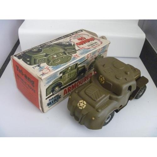 TRIANG MINIC (NO KEY UNTESTED) ARMOURED CAR BOX A/F LACKS GUN BARREL