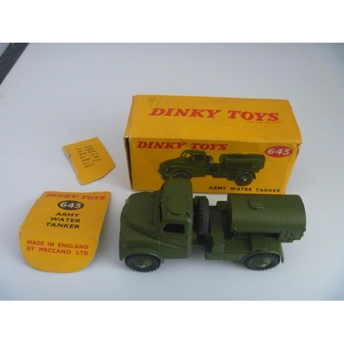 DINKY TOYS MILITARY ARMY (MODEL VG BOX F WITH SOME DETACHED FLAPS) WATER TANKER