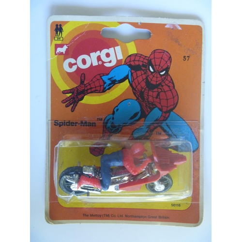 corgi toys juniors spidermans spiderbike mint on good card