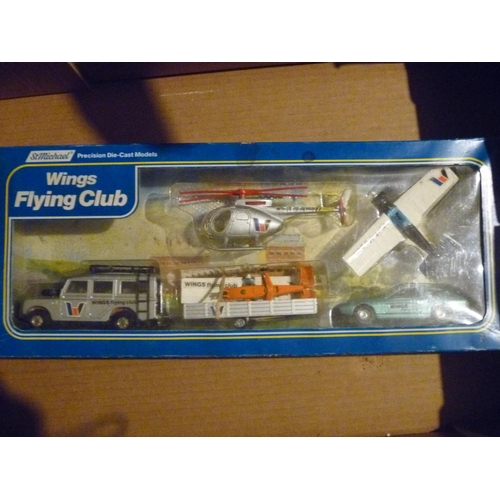 corgi toys wings flying club set, marks and spencer mint models in a good box
