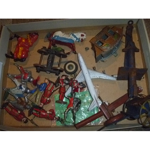 selection lead figures and other vintage toys including tinplate