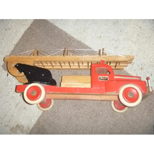rare brio 1969's large scale fire engine made from wood