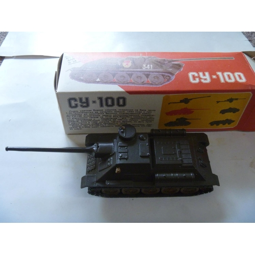 2 - SU-100 - WWII tank destroyer, scale 1:43, metal, Made in USSR with original box, production of these...