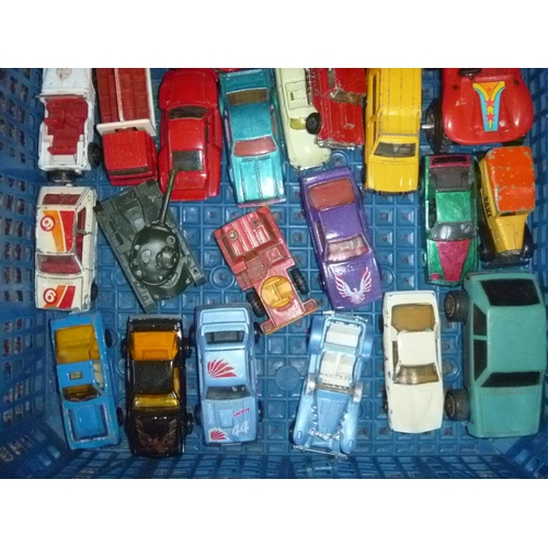 25 - Various diecasts, play-worn as found including mostly majorette and hot wheels , 1 boxed...