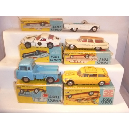 26 - Corgi Toys 1960's 5 boxed examples, boxes mostly poor and incomplete models playworn...