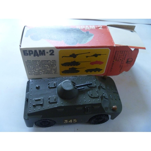 3 - BRDM-2 - scout vehicle, scale 1:43, metal, Made in USSR with original box, production of these model...