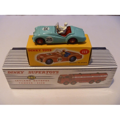38 - ATLAS DINKY TOYS TRIUMPH TR3 AND ESSO LEYLAND OCTOPUS TANKER - UNUSED...