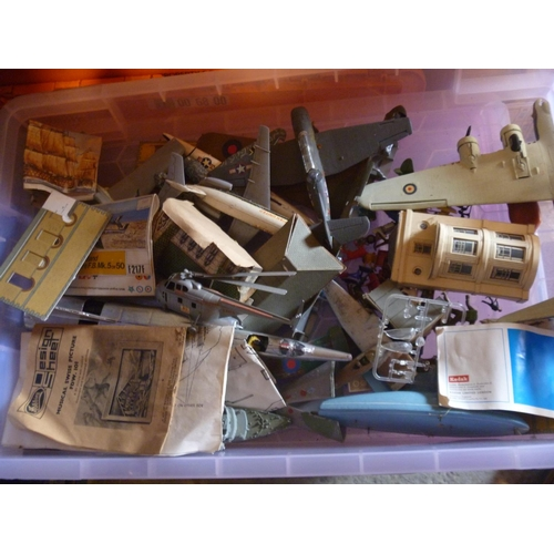 46 - SLECTION OF MOSTLY KIT BUILT MODEL AIRCRAFT PROBABLY BY AIRFIX LOT INCLUDES VOLKSWAGEN BEETLE KIT BU...