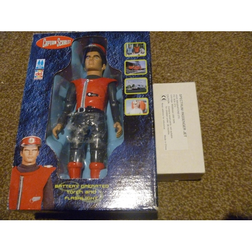 56 - CAPTAIN SCARLET GERRY ANDERSON BATTERY OPERATED TORCH UNUSED AND SPECTRUM JET...