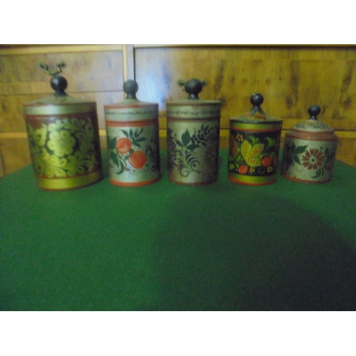 1 - Job lot of 5 Russian wooden lacquer storage jars...