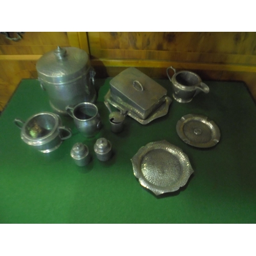 13 - Hand hammered Pewter breakfast set consisting of unity, abby, my lady & civic pewter...
