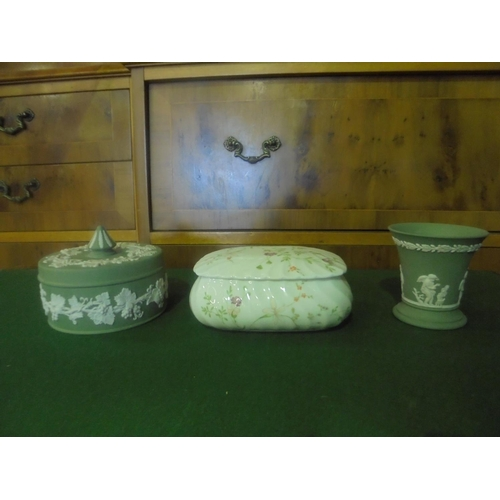 19 - Collection of Wedgwood (jasperware) including 2 storage boxes and 1 vase...