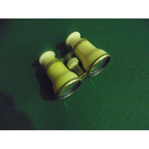 3 - Vintage pair of bone & brass adjustable binoculars...